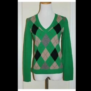 J.CREW Sweater V-Neck Plaid Women's Size S